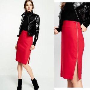 EXPRESS Midi Pencil Skirt w/Gold Size Zipper
